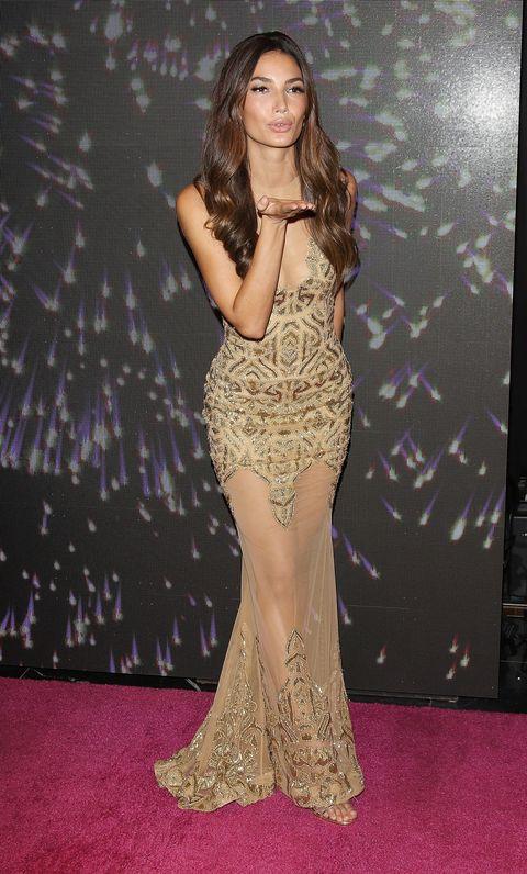 Lily Aldridge posing at the Victoria's Secret $2 million bra launch