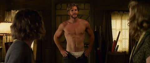 Hooray for this clip of Liam Hemsworth stripping in The Dressmaker