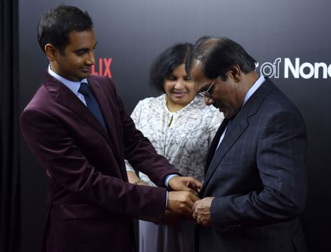 Aziz Ansari with his parents at the Master of None Netflix premiere
