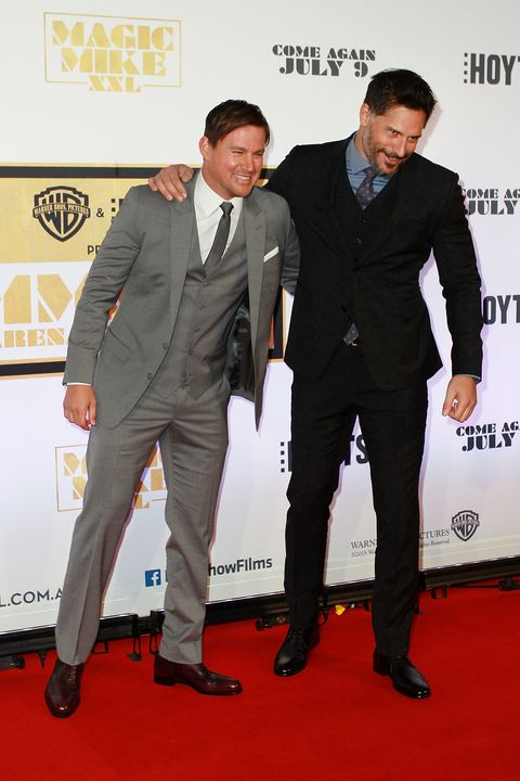 Joe Manganiello and Channing Tatum on the red carpet at the Magic Mike XXL premiere