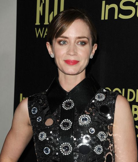 Emily Blunt on the red carpet at the Hollywood Press Association and InStyle party for the beginning of Golden Globes season