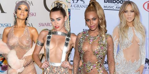 bac5435e504703 The most naked outfits of all time: Rihanna, Miley Cyrus, Beyonce and J