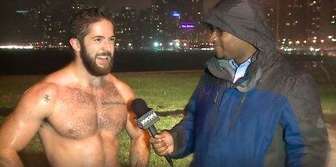 Everyone has gone mad for the wet, shirtless dude who crashed a weather report