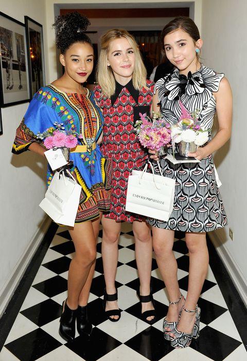 Amandla Stenberg, Keirnan Shipka, and Rowan Blanchard at the Teen Vogue party