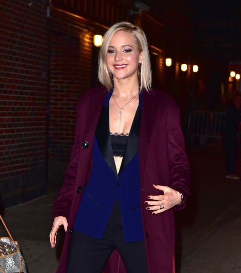 Jennifer Lawrence arriving at the Late Show with Stephen Colbert