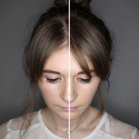 Benefit High Beam (on Emily's left side of face) vs W7 Night Glow (on Emily's right side of face)