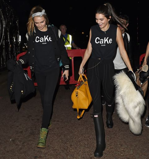 Cara Delevingne and Kendall Jenner wearing CaKe T-shirts