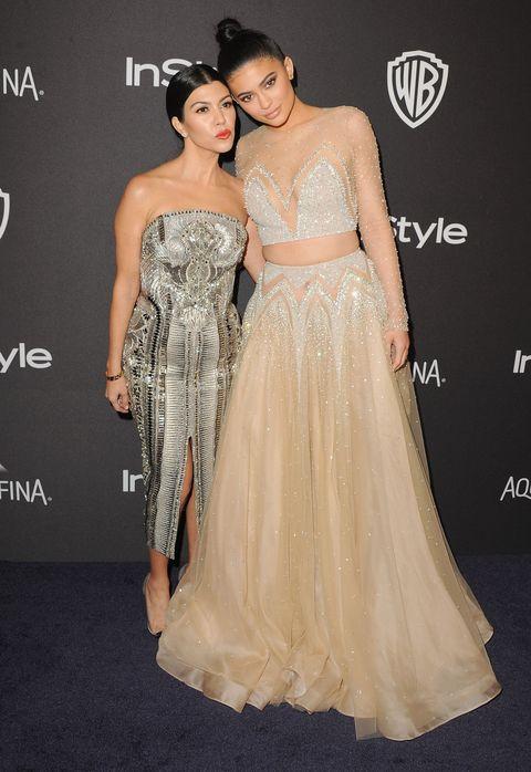 Kourtney Kardashian and Kylie Jenner at the 2016 Golden Globes after party