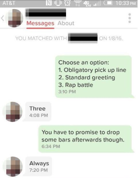 Couple who match on Tinder have a rap battle and it's brilliant