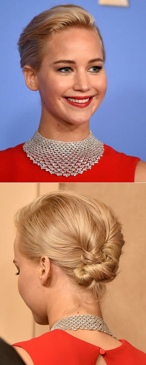 Jennifer Lawrence - Golden Globes 2016 hair and makeup trends