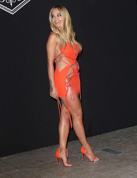 Rita Oras Orange Rope Versace Dress Is Very Naked-3731