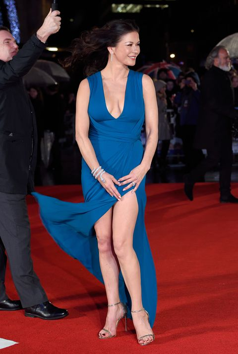 Catherine Zeta Jones on the red carpet for Dad's Army