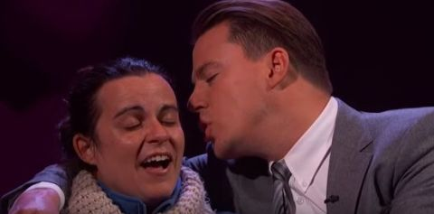 Channing Tatum feeding a woman Valentine's Day sweets and whispering in her ear on Jimmy Kimmel Live