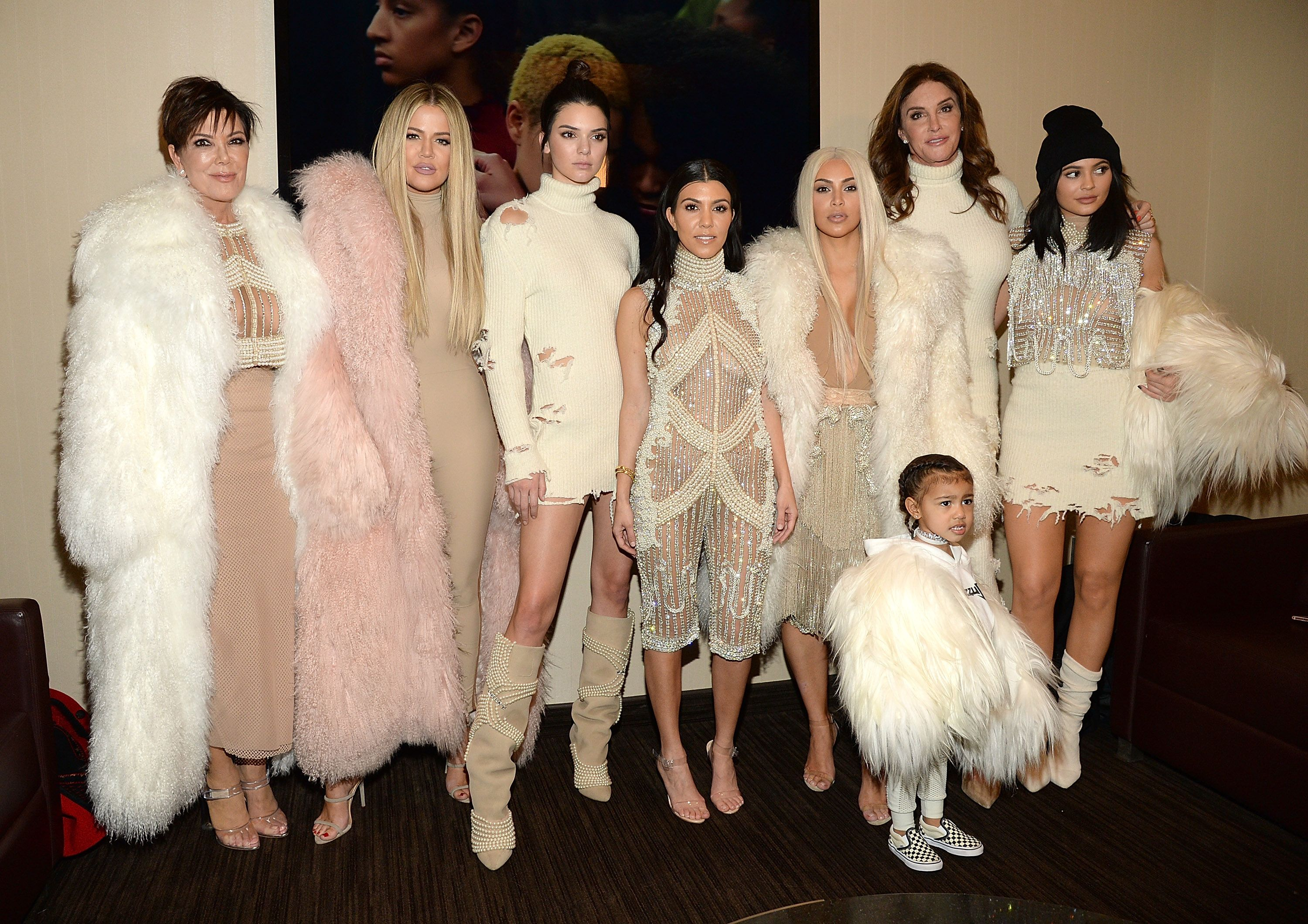 6aeb2ff5645d1 The Kardashian Jenner clan attend Kanye s Yeezy show in custom outfits