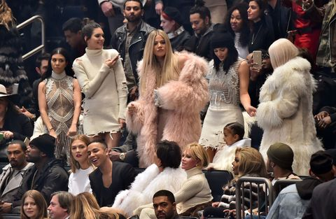8cc7ea51f9593 The Kardashian clan attend Kanye s Yeezy show in custom outfits