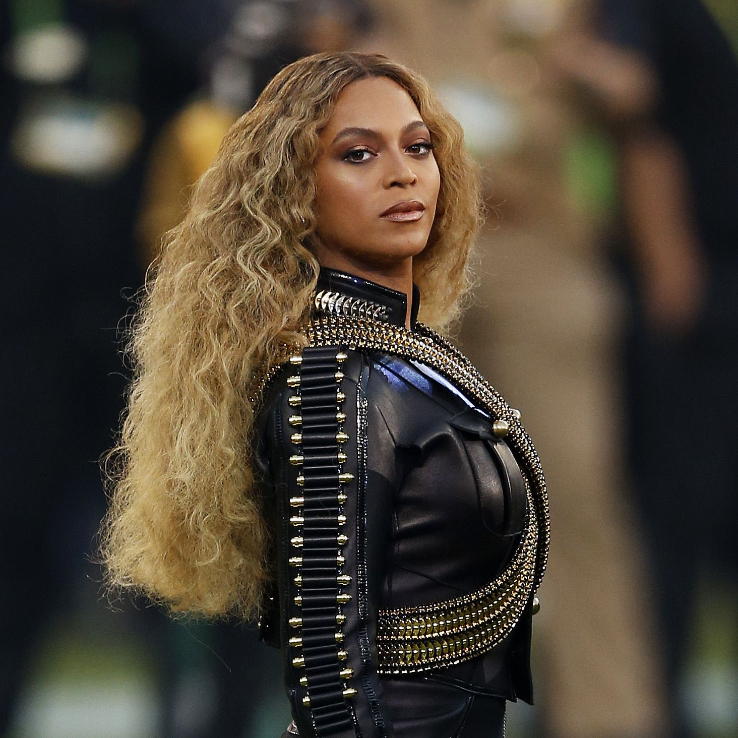 Beyonce performing at the Super Bowl 2016 half time show