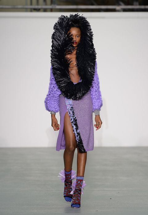 Outerwear, Purple, Fashion show, Style, Magenta, Violet, Lavender, Fashion, Street fashion, Black hair,