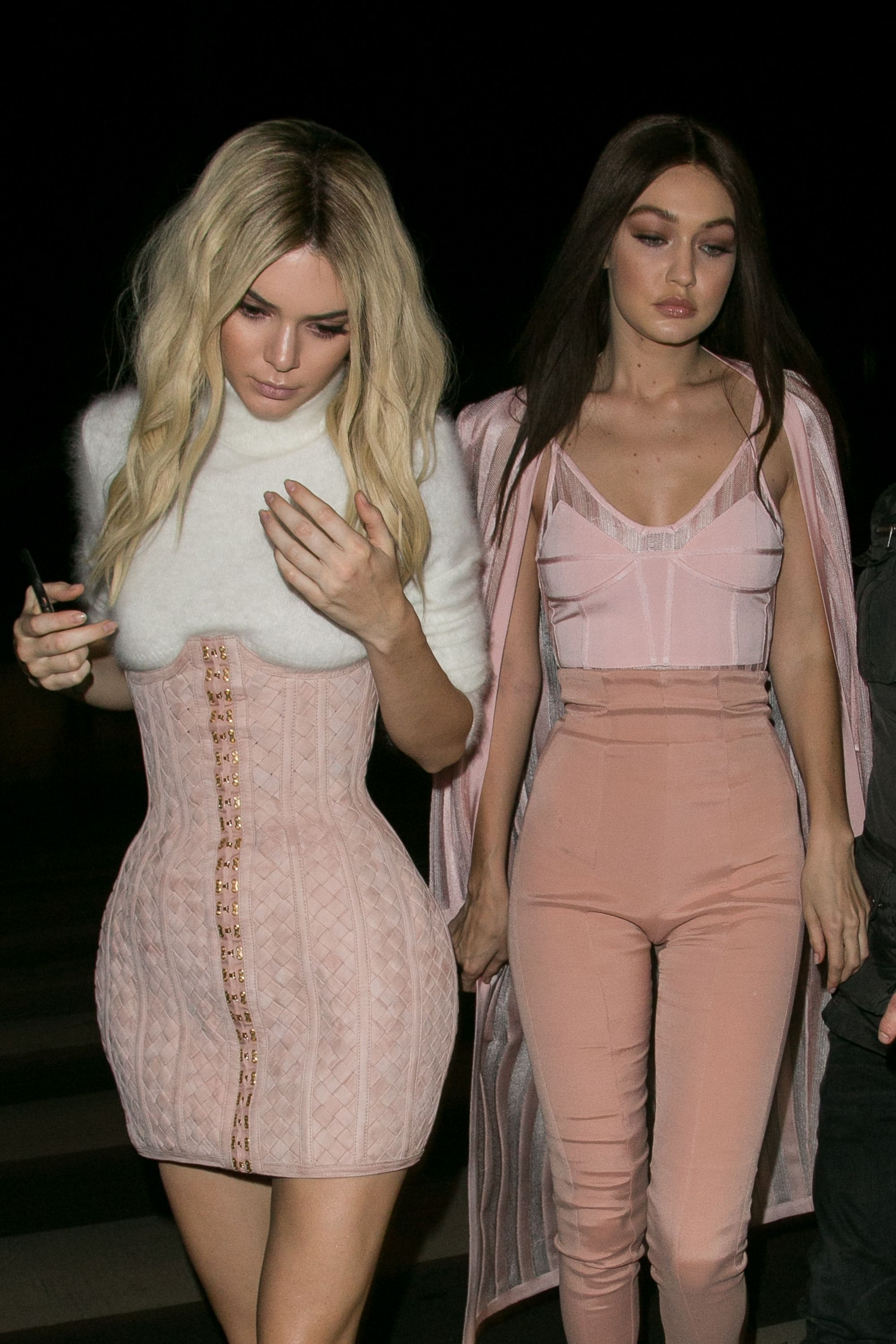 Kendall And Gigi Co Ordinate In Cute Pink Outfits For Balmain After