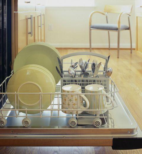Dish rack, Dishwasher, Room, Furniture, Shelf, Tableware,