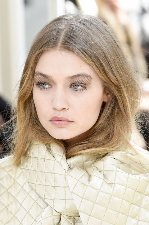 Chanel AW 2016 makeup - quilted eyes trend on Gigi Hadid