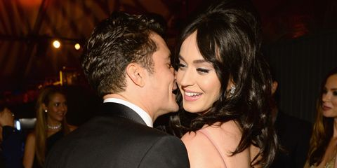 Katy Perry and Orlando Bloom chatting at the Golden Globes