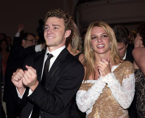 Britney Spears and Justin Timberlake dancing together at the pre-grammys party