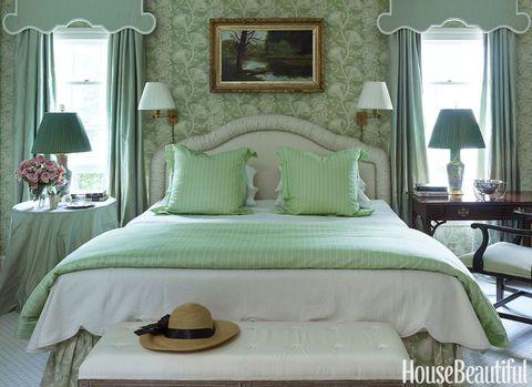 Green, Room, Interior design, Bed, Hat, Property, Bedding, Textile, Bedroom, Furniture,