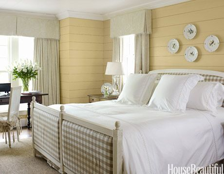 white and yellow country bedroom