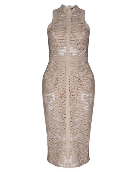 Brown, Sleeve, Pattern, Dress, One-piece garment, Beige, Day dress, Fashion design, Mannequin, Natural material,