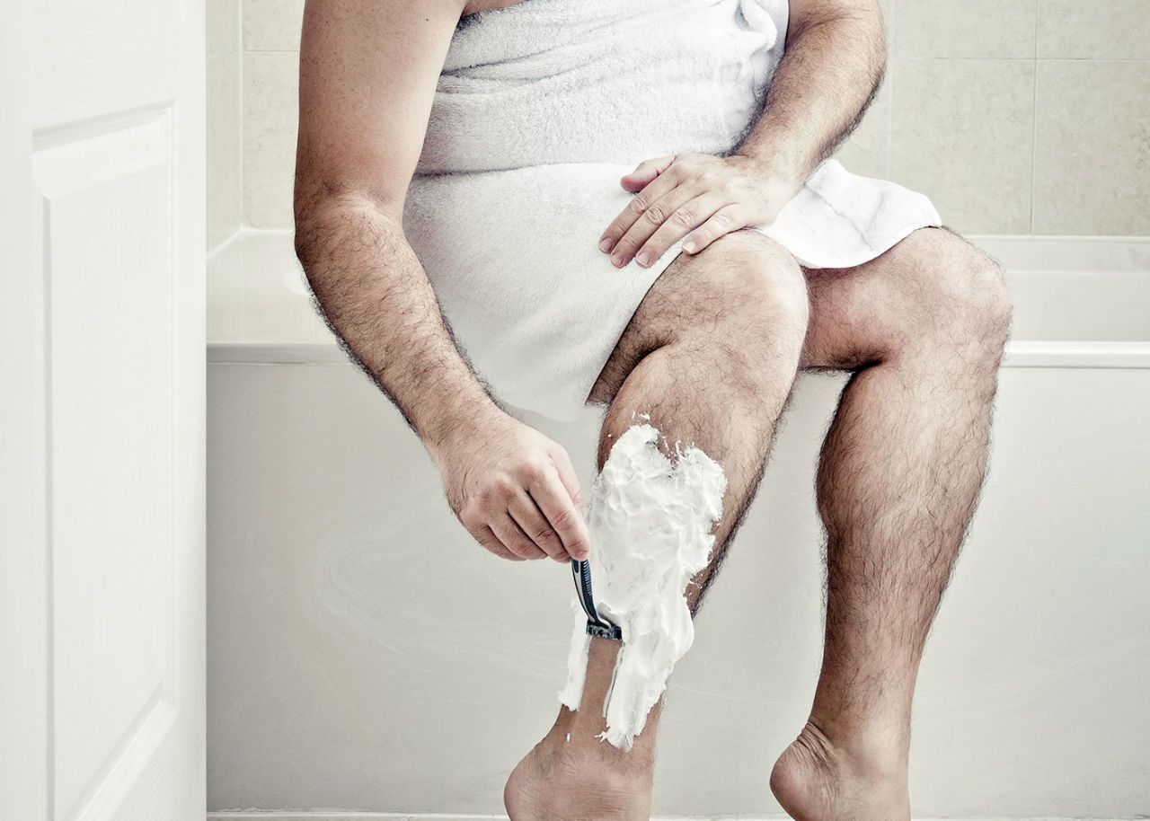 Pic of man with shaved leg