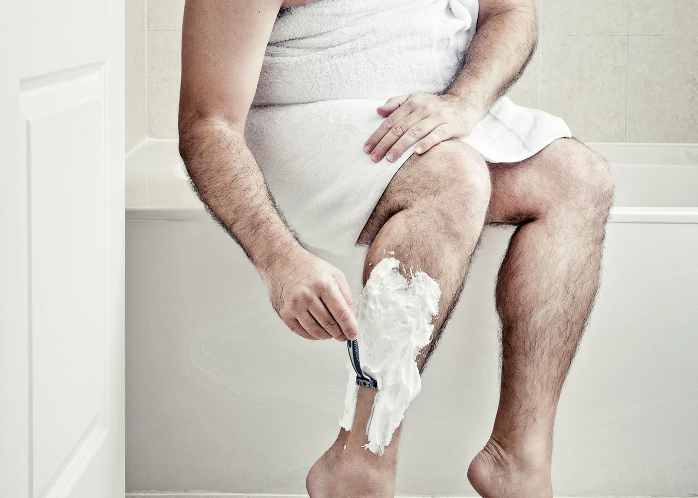 His leg shave
