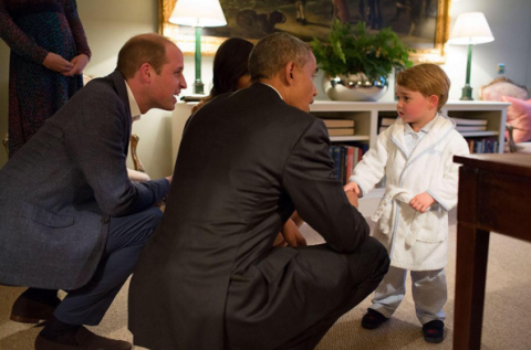 Prince George met Barack Obama in his dressing gown and it's so cute we could burst