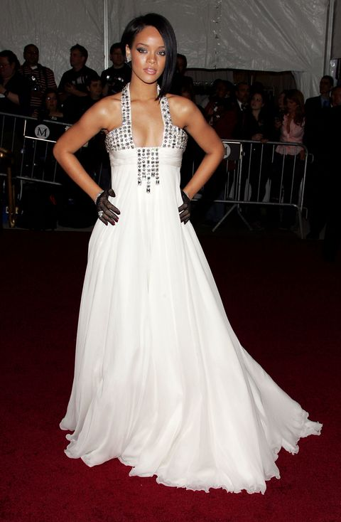 rihanna wore a georges chakra white dress at her first met gala in 2007