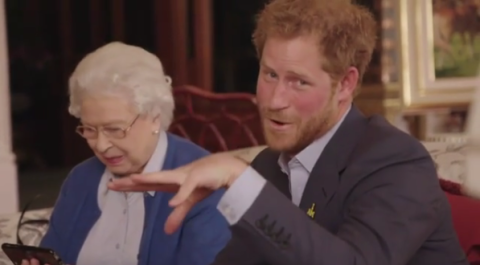 Prince Harry and the Queen get all up in Michelle and Barack Obama's grill in this hilarious video