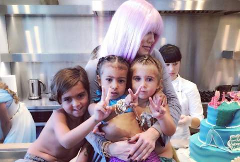Khloe Kardashian, Mason, Penelope, and North West at a mermaid themed party