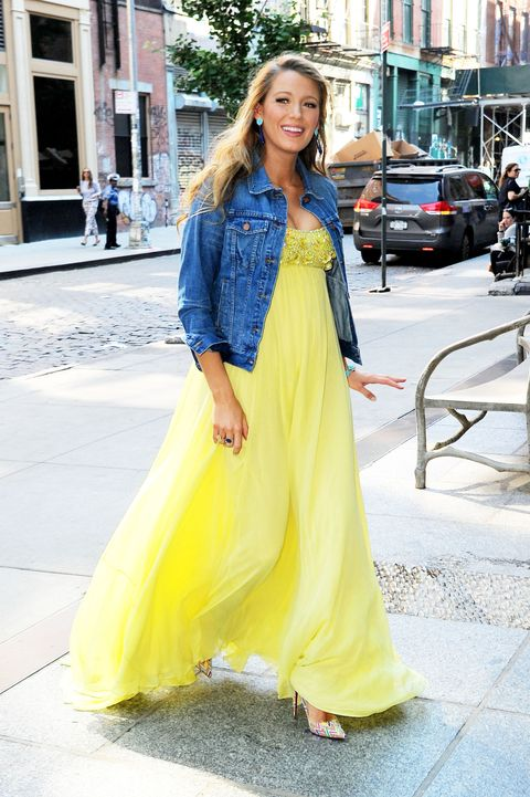 c90e74d5a1 Blake Lively just brought back the denim jacket maxi dress trend