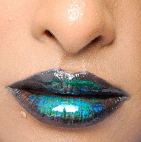 Blue, Lip, Green, Brown, Skin, Eyelash, Eyebrow, Eye shadow, Violet, Purple,
