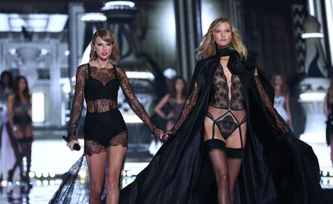 Taylor Swift and Karlie Kloss walking the 2014 Victoria's Secret runway
