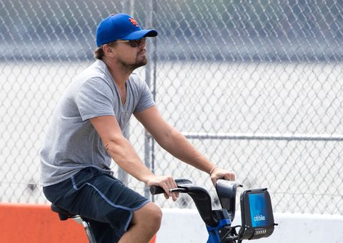 Leonardo DiCaprio cycling on a bike around New York