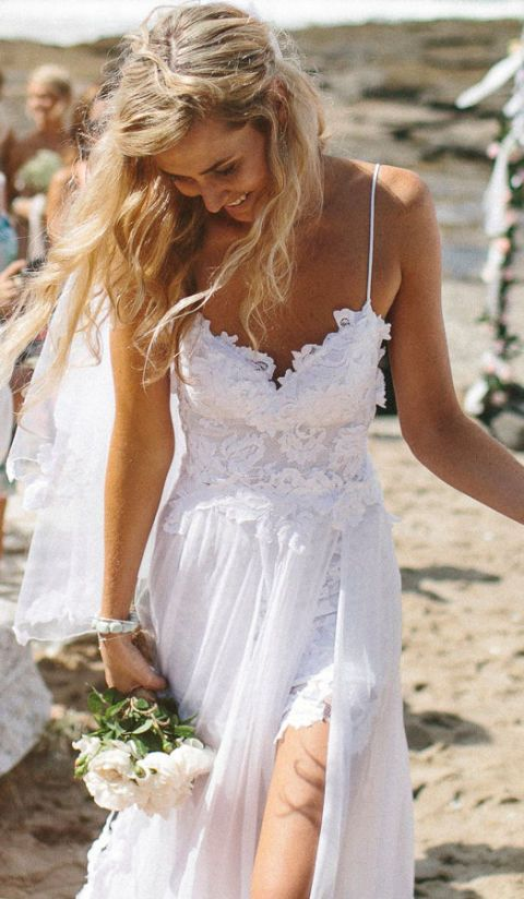 Wedding dress, Clothing, Dress, White, Gown, Bridal clothing, Blond, Bridal party dress, Shoulder, Long hair,