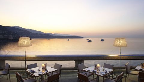 Table, Furniture, Restaurant, Horizon, Outdoor furniture, Chair, Outdoor table, Dusk, Evening, Sea,