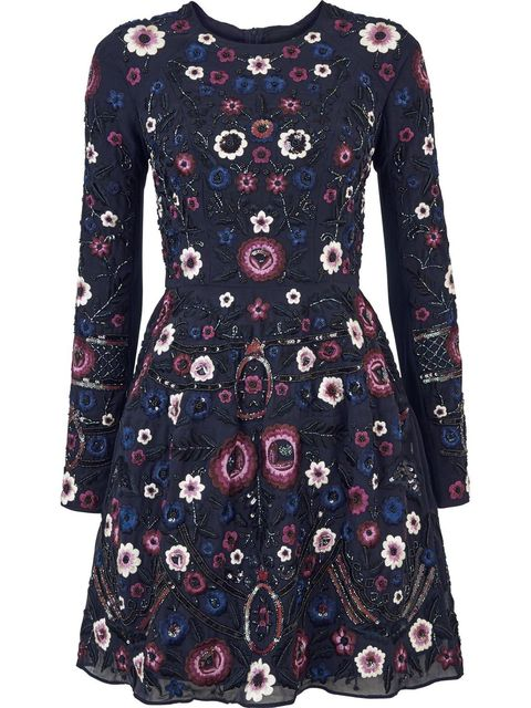 Blue, Sleeve, Dress, Pattern, Textile, Red, Style, Formal wear, One-piece garment, Day dress,