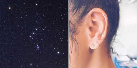 Ear constellation piercings