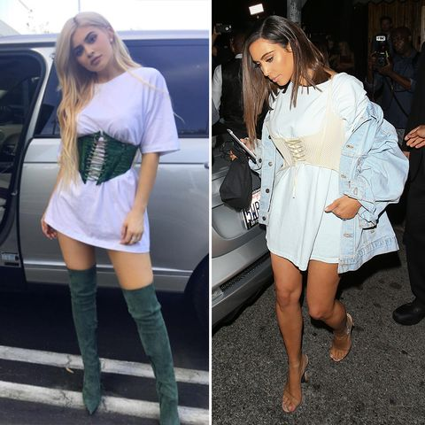 Kylie Jenner and Kim Kardashian wearing matching corsets