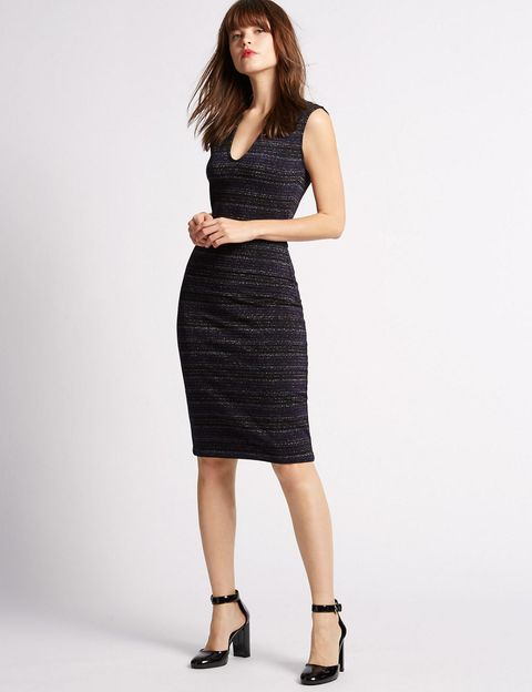 "<p>This shimmering, sculpting bodycon dress will cling to your frame in all the right places.</p><p><a href=""http://www.marksandspencer.com/cotton-rich-striped-lurex-bodycon-dress/p/p22493777?image=SD_01_T42_2603L_Y4_X_EC_90&amp;color=BLACKMIX&amp;prevPage=plp#"" target=""_blank"">Cotton rich striped lurex bodycon dress, £29.50, Marks &amp; Spencer</a></p>"