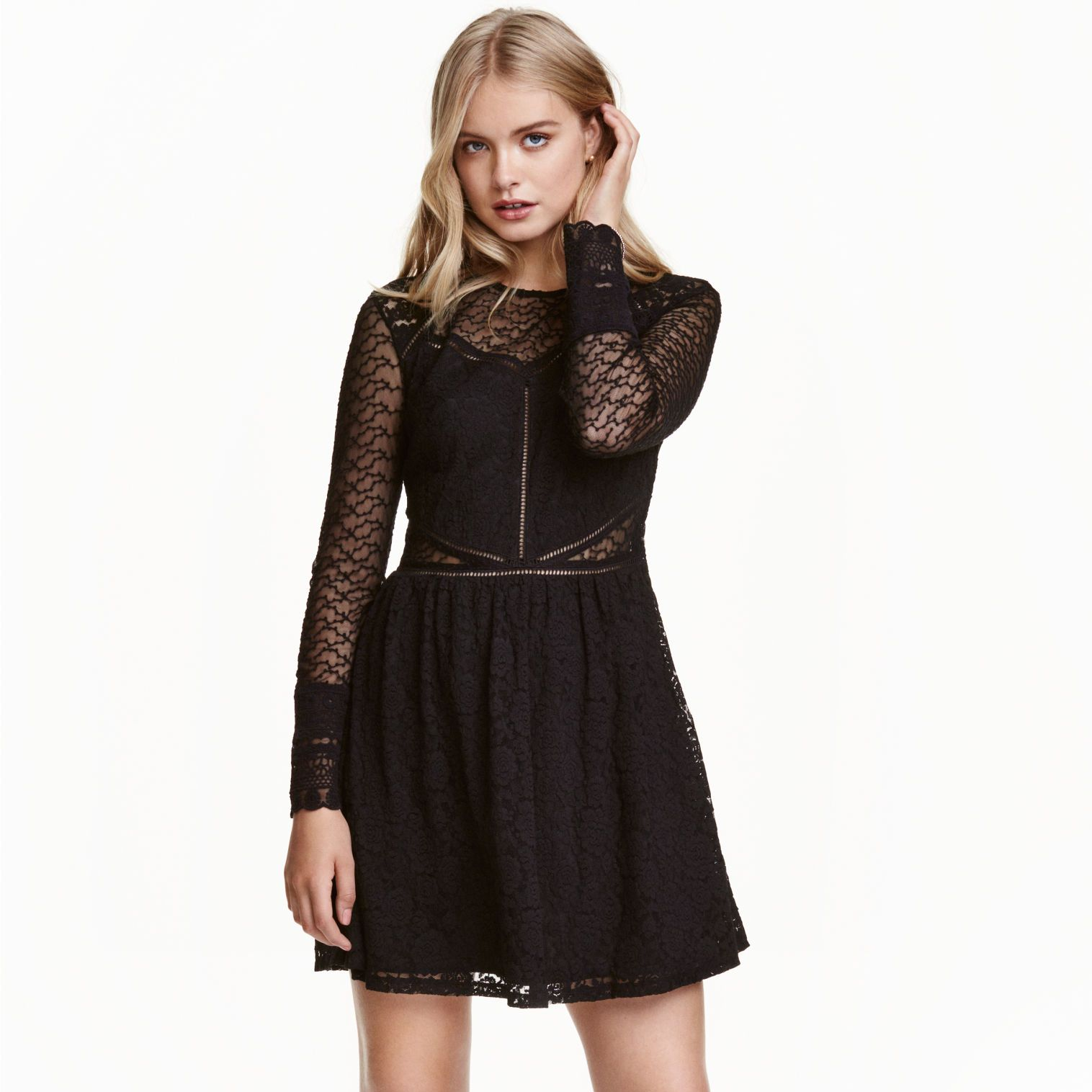 "<p>This lace number has sheer cut-outs right around the waist which draws the eye in at your favourite asset.</p><p><a href=""http://www2.hm.com/en_gb/productpage.0417728003.html#"" target=""_blank"">Lace dress, £29.99, H&amp&#x3B;M</a></p>"