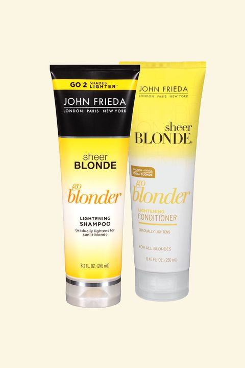 "<p>Hadid swears by this highlight-enhancing duo, which contains a natural lightening complex that *gently* reduces color pigments. Also, it makes your hair feel really soft.</p>  <p></p>  <p>John Frieda Sheer Blonde Go Blonder Lightening Shampoo, $9.99; <a href=""http://bit.ly/2eTtv22"" target=""_blank"" data-tracking-id=""recirc-text-link"">ulta.com</a>.</p>  <p><span data-redactor-tag=""span""></span>John Frieda Sheer Blonde Go Blonder Lightening Conditioner, $9.99; <a href=""http://bit.ly/2eTr2EN"" target=""_blank"" data-tracking-id=""recirc-text-link"">ulta.com</a>.</p>"