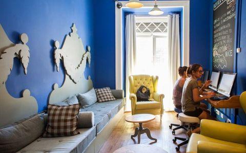 Living room, Blue, Room, Interior design, Property, Furniture, Wall, Building, Home, Design,