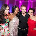 Aww bless!  We love when the stars come together for a photo op, and here's Myleene Klass, Alexandra Burke and Tulisa looking like the best of friends. Group hug!