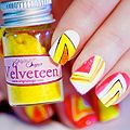 <p>It's all about standout nails and nothing gets attention more than good old neon nails. So whether you're off partying away at a festival or just off to a rave, here's how to get your very own glow stick talons.<br /><br />For this design you will need:<br /><br />White nails polish<br />Neon orange nail polish<br />Original Sugar nail art pen with black paint<br />Bullinionaire beads in Juicy Orange<br />Velveteen in Lemon Drops and Marshmallow</p><p> </p>